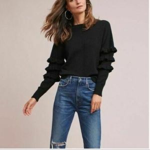 Anthropologie Beau Ruffle Black Knit Sweater